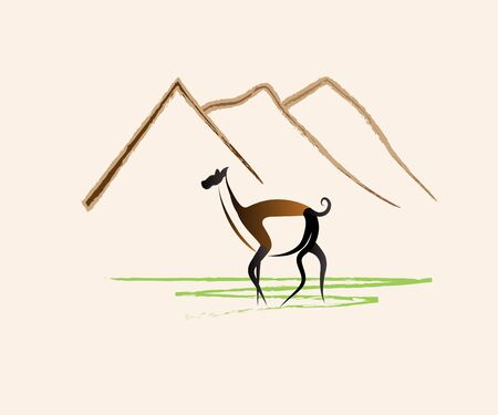 Llama animal in the mountains icon vector image web design template