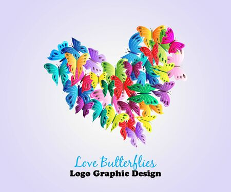 Butteerflies love heart valentines day colorful card icon logo graphic design vector template background