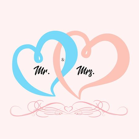 Weeding card Mr and Mrs with decorated hearts background greetings card vector image design