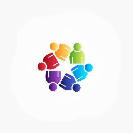 teamwork business people unity partners friendship in a hug vector image web template Ilustração Vetorial