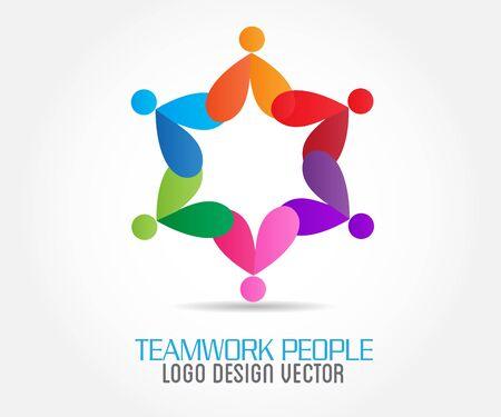 Gens d'affaires d'unité de travail d'équipe de logo