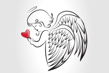 Angelo che prega con un amore cuore schizzo icona immagine vettoriale grafica sfondo modello web render