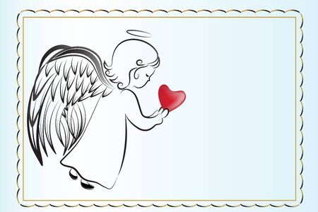 Angel praying with a love heart sketch icon vector image artwork background web template render Ilustração