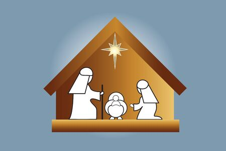 Christmas Nativity family scene vector image design illustration banner render template background Illustration