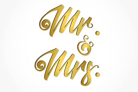 Mr. and Mrs. gold design lettering text vector image background web template