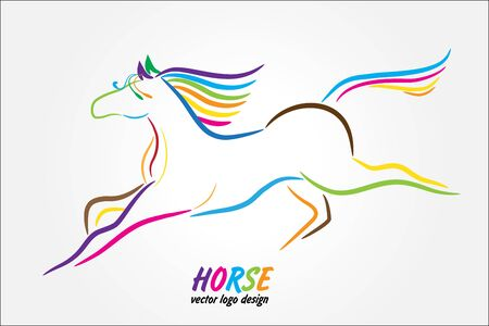 Beautiful stylized horse racing colorful logo vector image graphic design template background line art silhouette handmade icon