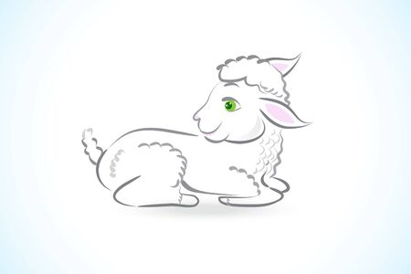 White Sheep seating in a ground cartoon icon clipart graceful image vector web design template background