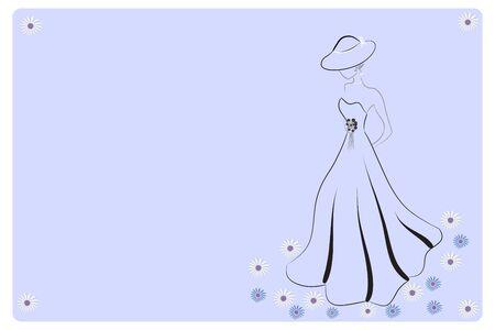 Bride wedding stylized symbol invitational card web image vector design template background 向量圖像