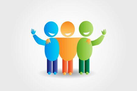 Friendship happy social media networking people vector image web illustration