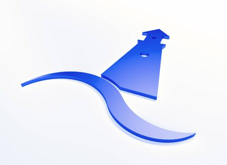 Lighthouse blue 3D graphic illustration with ocean sea beach wave clip art web image banner background