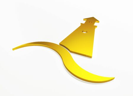 Lighthouse 3D gold graphic illustration with ocean sea beach wave clip art web image banner background