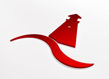 Lighthouse 3D red graphic illustration with ocean sea beach wave clip art web image banner background