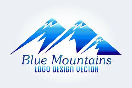 Logo mountains icon blue logotype vector web image graphic design template