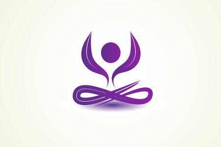 Yoga man lotus flower logo clip art vector image graphic design purple color identity id card business template Illustration