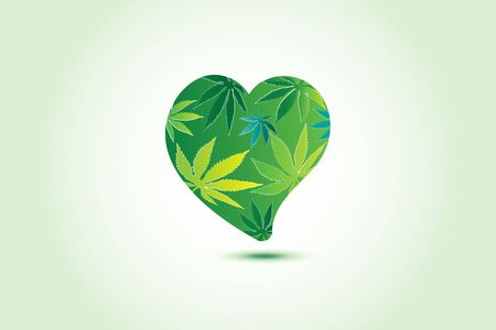 Cannabis hemp marijuana leafs love heart logo id card business symbol vector image web template