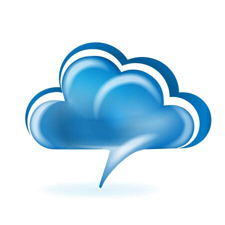 Cloud speech shape glossy color networking technology symbol logo vector web image illustration template