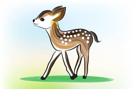 Baby cute deer. Sika deer with spots  vector image graphic design template background Illusztráció