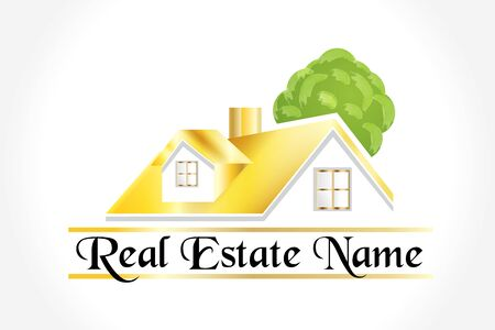 Real estate community houses with trees logo vector artwork web image design template Illustration