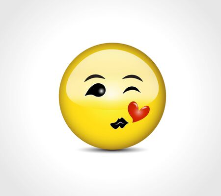 Happy face smiling emoticon character button badge concept icon vector image design