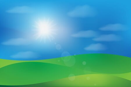 Landscape green hill and blue cloudy sunny sky vector image graphic design banner background template