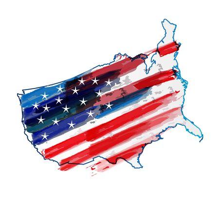 American flag USA map watercolor logo vector web image design 向量圖像