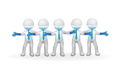 3D small white healthcare people team in a hug vector image design
