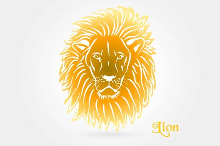 Lion tattoo stylized icon logo vector web clip art image design Illustration