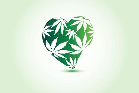 Cannabis marijuana leafs love heart logo id card business symbol vector image web template Illusztráció
