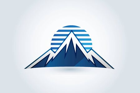 Logo mountains icon logotype vector identity business id card graphic design logotype template
