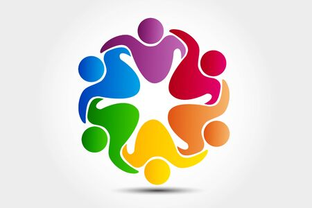 Logo teamwork unity business embraced friendship partners people colorful icon logotype vector web image design