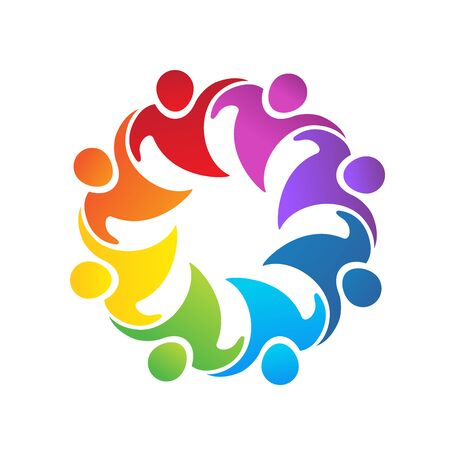 Logo teamwork unity business embraced people partners colorful icon logotype vector web image design