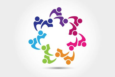 Logo teamwork unity business embraced friendship partners people colorful icon logotype vector web image design Vettoriali