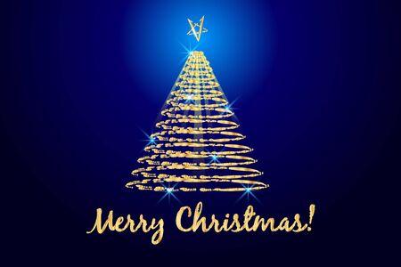 Christmas tree greetings card scrible image vector design web template blue background Vektorgrafik