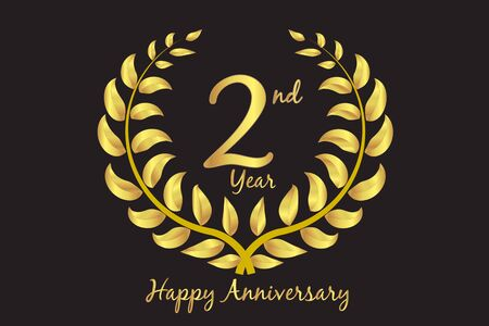 Happy second anniversary gold wreath invitation card design vector template Vecteurs