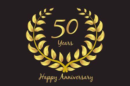 Happy 50th anniversary gold wreath laurel invitation card design vector template Vettoriali