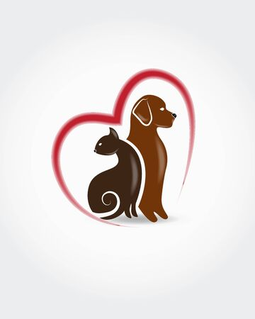 Logo Dog and cat together silhouettes id card veterinary business icon vector web image graphic clip art illustration
