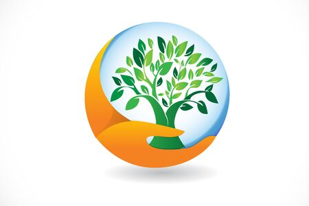 Logo hand care a tree symbol icon vector web image design illustration
