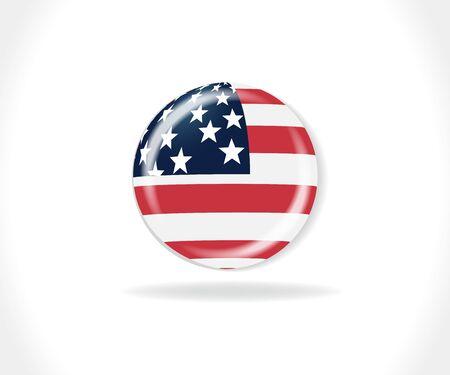 American flag USA button logo vector web image design