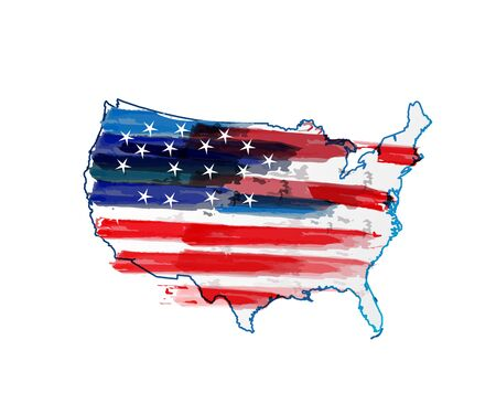 American flag USA map watercolor logo vector web image design