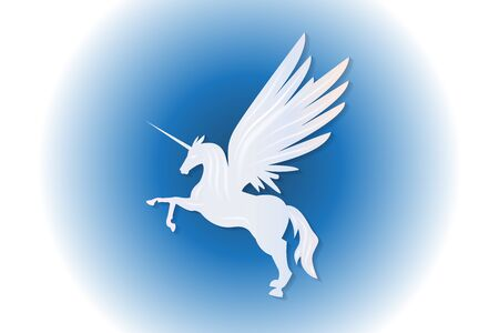 Beautiful unicorn horse flying on blue sky  vector web image graphic illustration