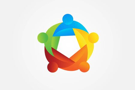 teamwork unity business people colorful icon  vector web image design Иллюстрация