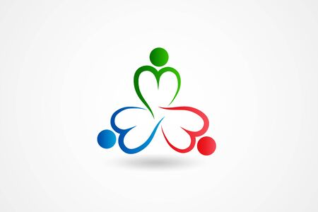 teamwork unity partners charity peoplelove heart shaped colorful icon  vector web image design
