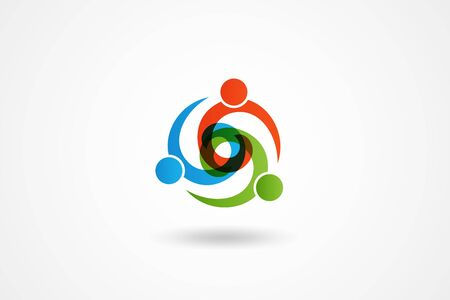 teamwork unity business holding hands people partners colorful icon  vector web image design Иллюстрация