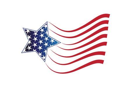 USA flag star logo icon vector image design
