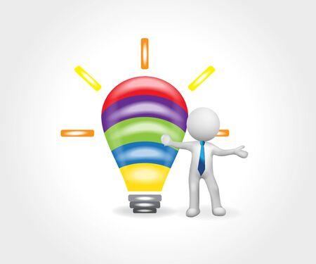 3D man and bulb light logo. Creative idea symbol vector design watercolor image Ilustracja