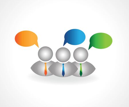 3D small group of people talking speech bubbles design conversation meeting vector logo image design