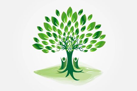 Logo tree people symbol vector image design illustration icon Vettoriali