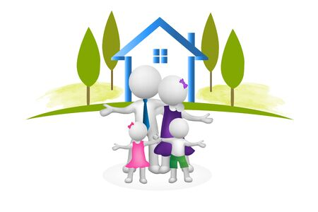 Logo Family house 3D people stay at home concept vector image design template