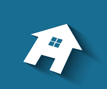 Logo real estate house flat icon on a blue background vector image design