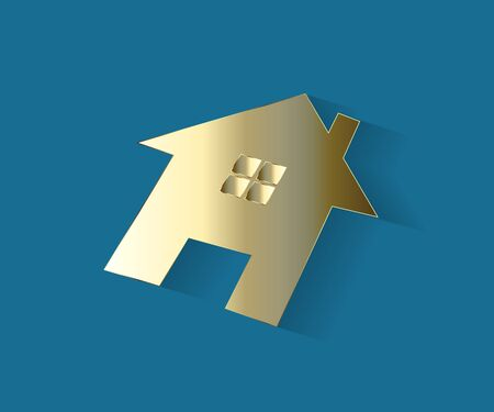 Logo real estate gold house flat icon on a blue background vector image design